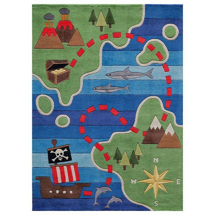 Momeni Lil Mo Whimsy Treasure Map Rug, Multicolor