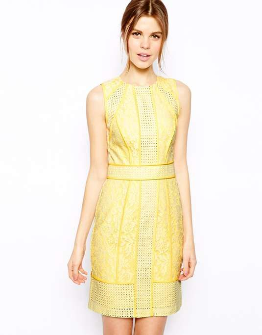 Love the Warehouse Paneled Broderie Lace Pencil Dress on Wantering.