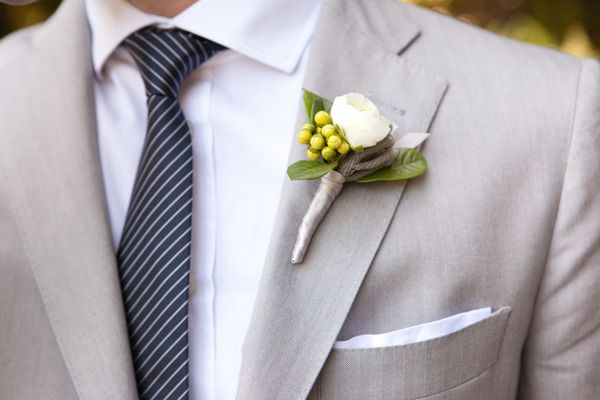 This entire wedding is just so gorgeous! Boutonniere by brownpaperdesign.com; Photography by birdsofafeatherphotography.comWhite Flower, Grey Suits, Trav'Lin Lights, Colors Photography, Birdsofafeatherphotographi Com, Navy Ties, Boutonnier Photography, Birdsofafeatherphotography Com, Feathers Photography