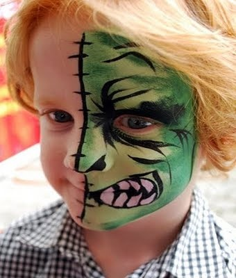 two face - face paint. Too scary? I think my boys would love it.
