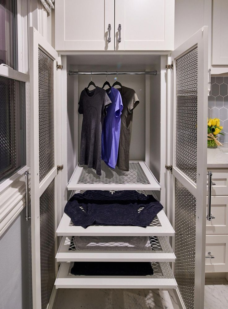 Custom Drying Cabinet For Laundry Room Featuring Pullout