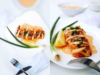Stuffed Salmon w/ Sriracha Cream Sauce