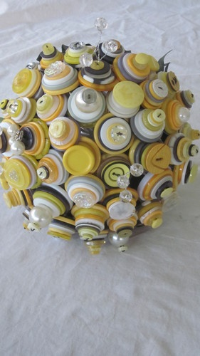 Yellow White and Grey Button Bouquet
