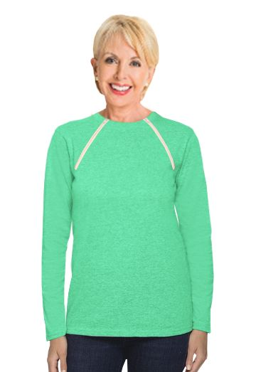Chemo|Port-Accessible Women's Shirt by Comfy Chemo in Aqua Green - Survivor Room