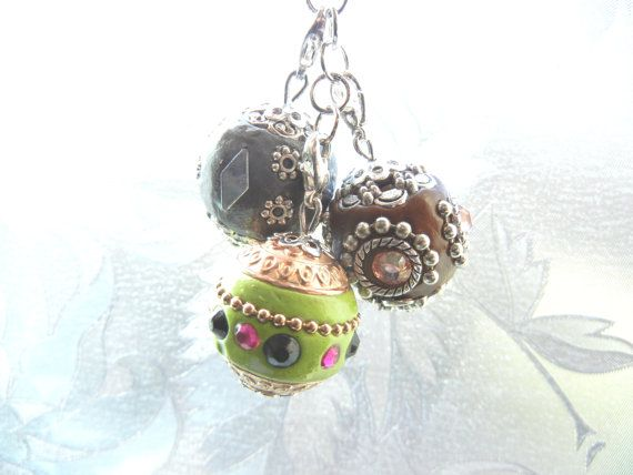 Keychain keyring with eastern beads charms