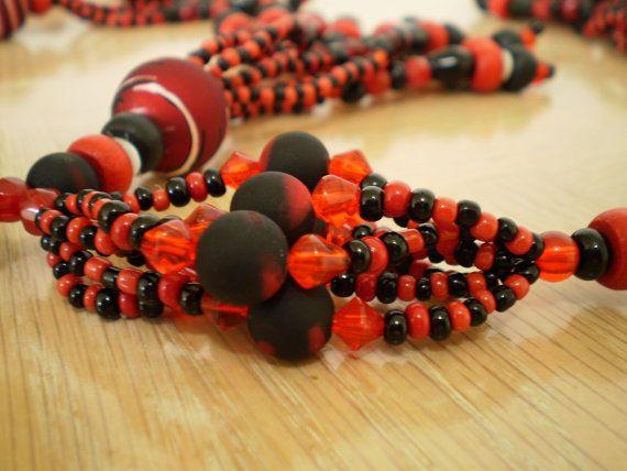 Amazing Red and Black Mazo (Medium Necklace) for Elegua, Santeria, Elekes by OshaDesigns, $74.99