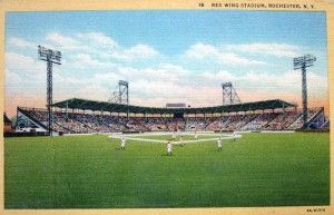 Red Wing Stadium, Rochester NY (Postcard by Rochester News Co., Curteich Chicago C.T. Art Colortone)