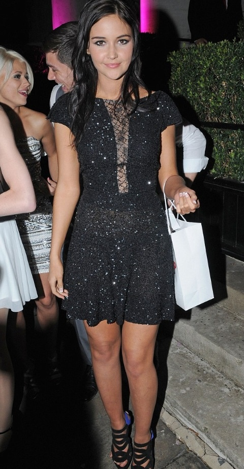 Jacqueline Jossa in our micro sequin dress with Chantilly lace front insert.