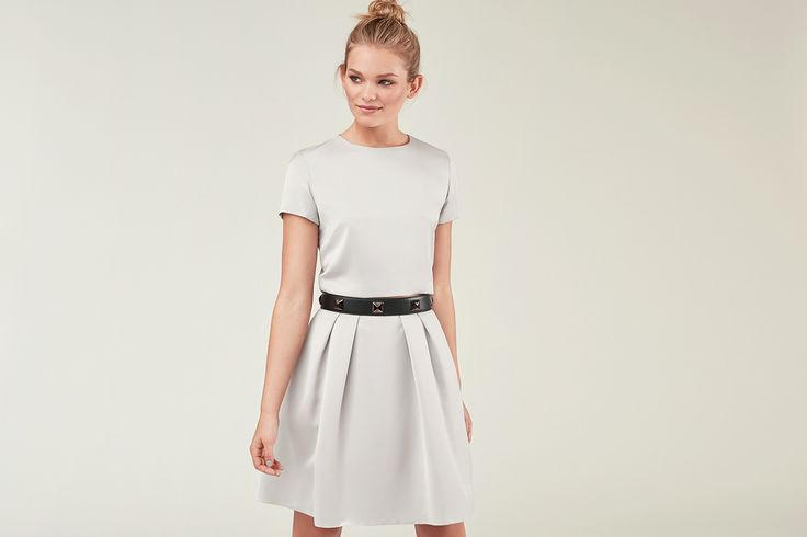 Mix & Match your perfect dress! ANINA-LINA in silver grey with a studded belt in black with black studs. Own the night.