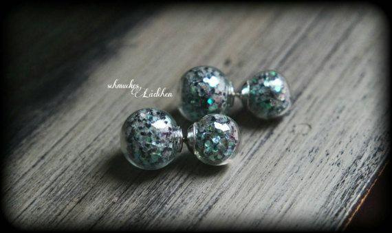 glitzernde Doppel Perlen Ohrstecker aus von byschmuckesLaedchen
