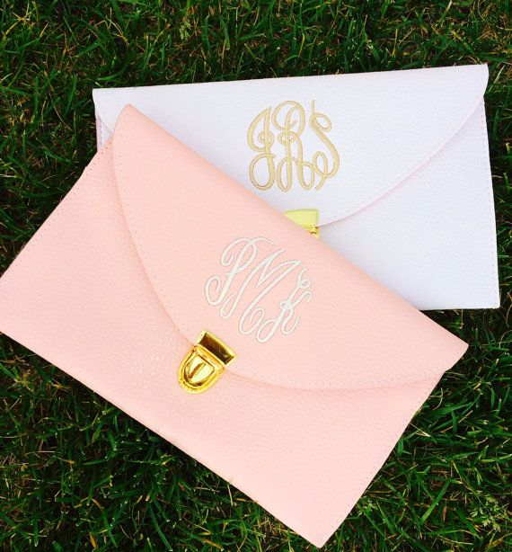 Light Pink OR White Monogram Clutch Purse by PoppyPine on Etsy