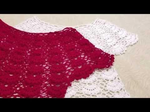 Blusa en crochet (ganchillo)de abanicos parte 1 - YouTube