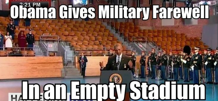 VIDEO: Obama Gives Military Farewell In an Empty Stadium 'LOTS OF EMPTY CHAIRS'