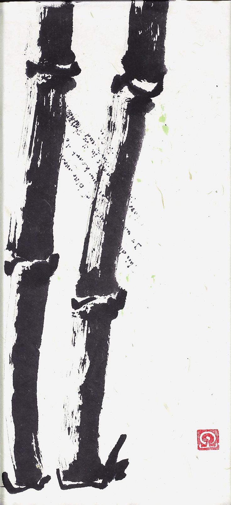 Zen Brush: Urban bamboo. This is a archival giclee print of an original zen brushwork piece.
