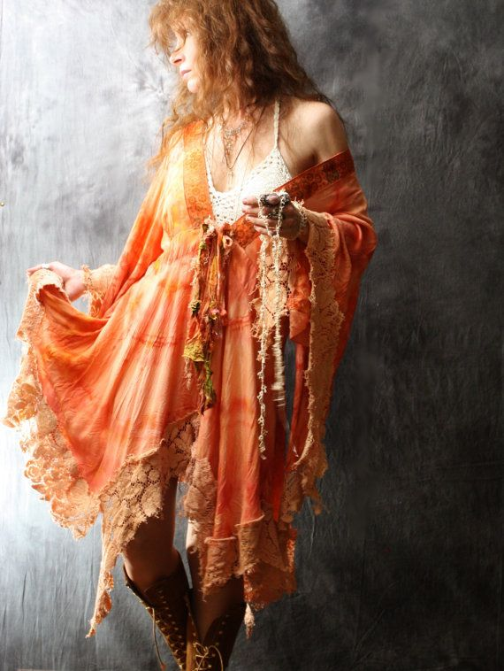 WAITING LIST Custom Order Vintage 1970s Bohemian Hippie Fairy Dress Jacket Dripping Lace Handmade Hand dyed Majik Horse