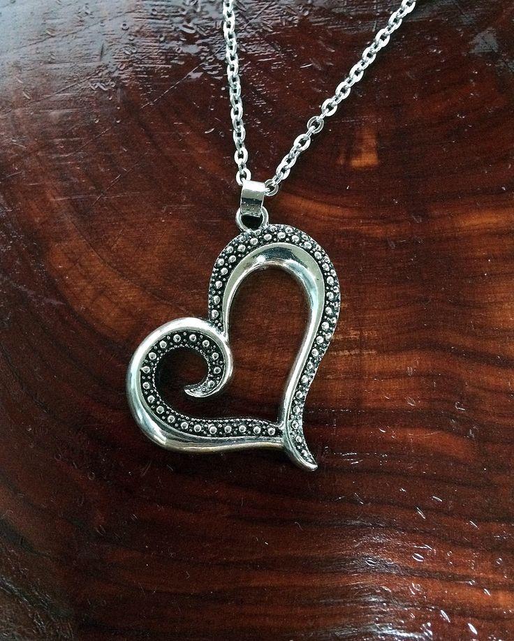 Art Deco Antique Silver Heart Necklace Valentine's
