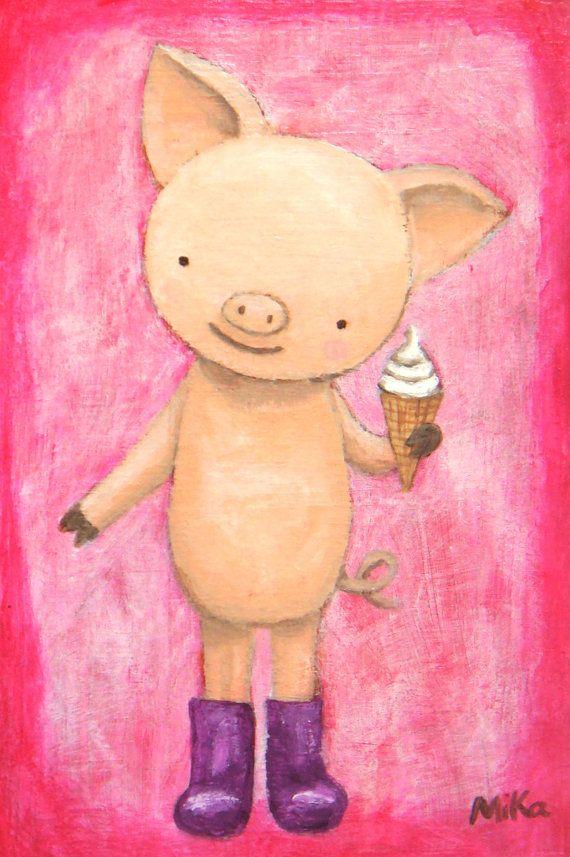 Original Painting Cute Pig Illustration Food Kitchen от mikaart