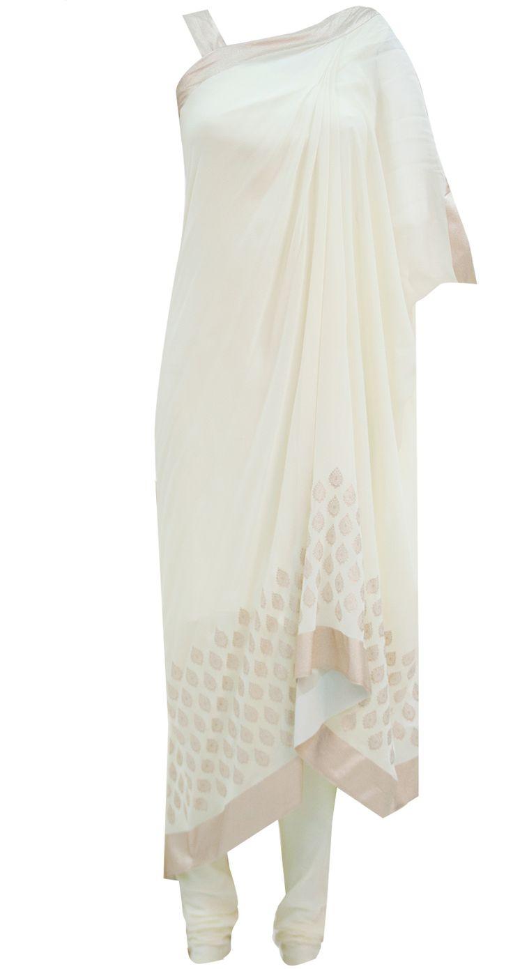 Ecru draped kurta set by GAURAV GUPTA. Shop at http://www.perniaspopupshop.com/whats-new/gaurav-gupta-ecru-draped-kurta-set-ggc091304.html