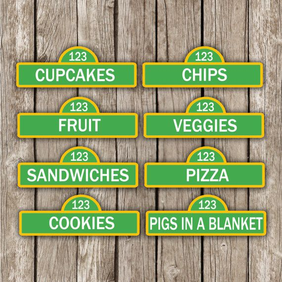 Sesame Street Food Labels - Sesame Street Birthday Party - Personalized DIY Printable                                                                                                                                                                                 More