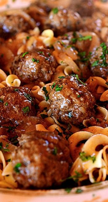 The Pioneer Woman's Salisbury Steak Meatballs. // Switch beef with ground turkey and use chicken stock and this recipe should be good to go!
