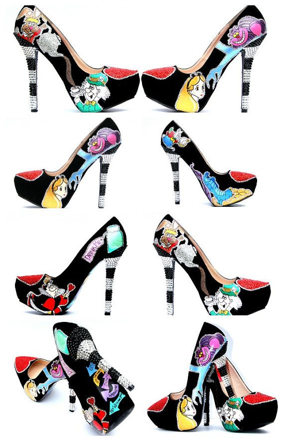 Hand Painted Alice in Wonderland Heels with by WickedAddiction