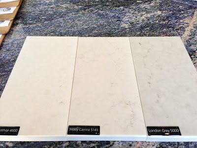Caesarstone sample in Organic white, frosty carrina, london grey