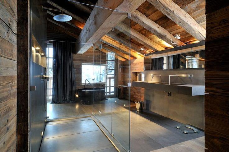 Sichtdachstuhl waschplatz eingestellte wandscheibe for Chalet modern bauen
