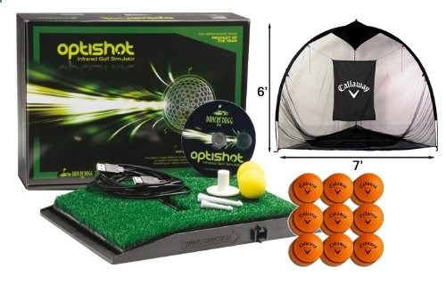OptiShot Golf Simulator Bundle - Includes Callaway Net, 18 HX Practice Balls. The OptiShot Infrared Golf Simulator Home Range Bundle provides you with everything you need to set up your own private golf simulation headquarters. Including the OptiShot Infrared Simulator, a Callaway 6′ Tri-Ball Hitting Net and 18 Callaway HX Practice Balls, you'll be ready in a matter of minutes to take on some of world's most historic courses!