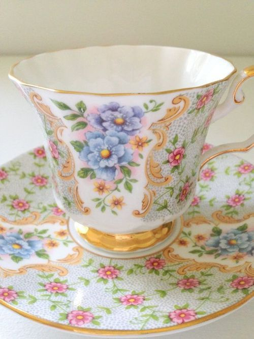 Tea tastes even better when it's served in a pretty cup like this one.