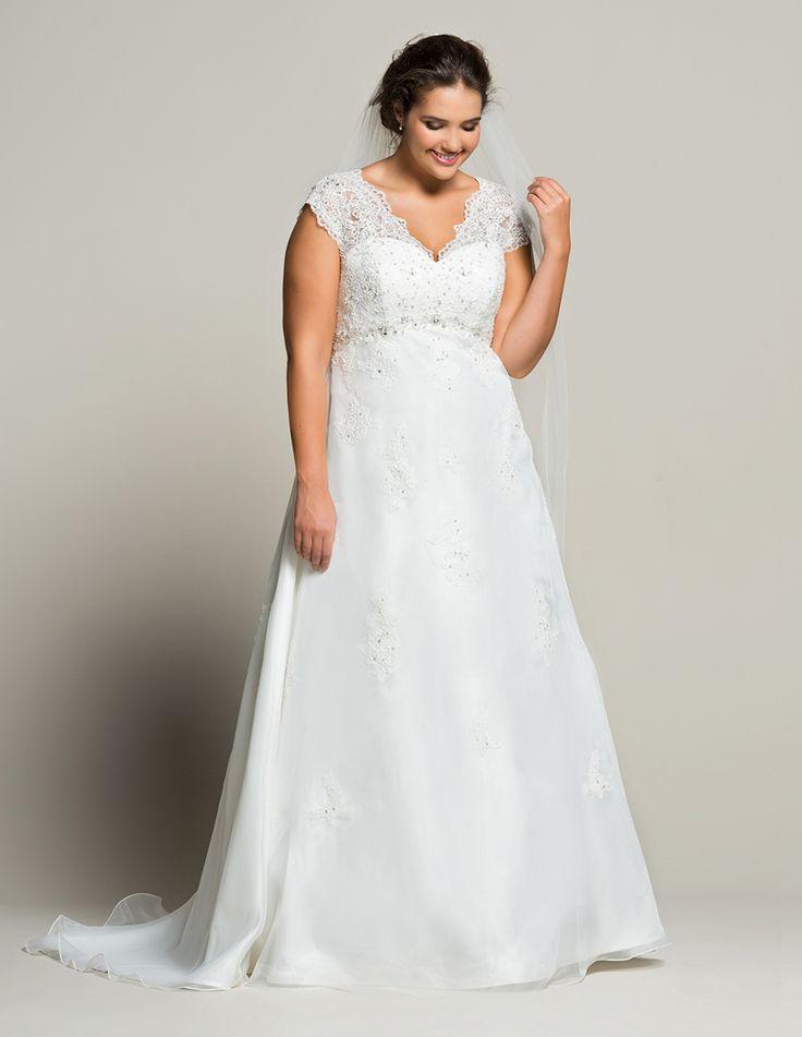 Linzi Jay Organza satin beaded bridal gown in White #plussizebridal #navabi