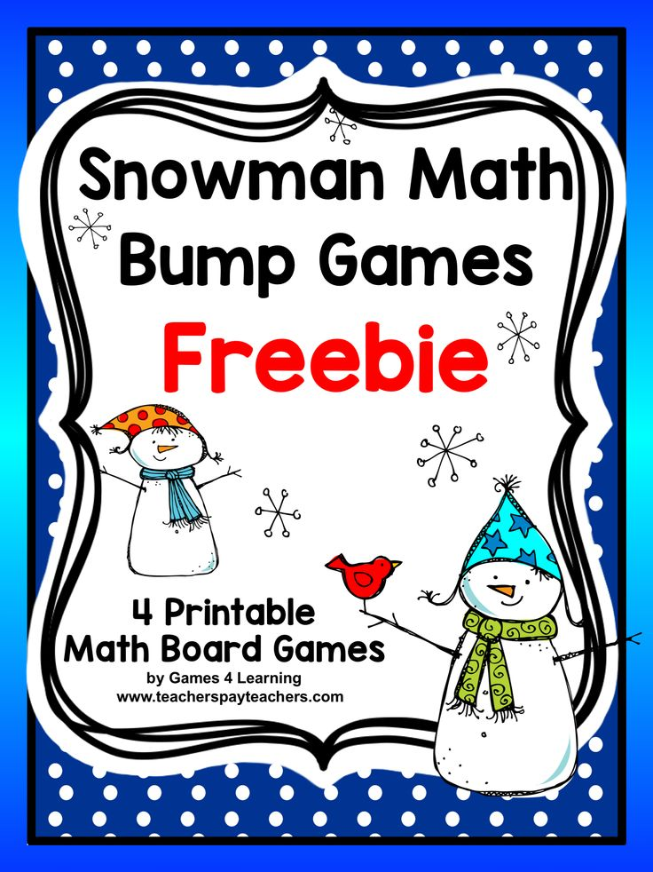 Snowman Math Bump Games Freebie from Games 4 Learning gives you 4 Snowman Math Board Games that are perfect for winter or Christmas math activities. These are ideal as a math center or Christmas or winter homework.