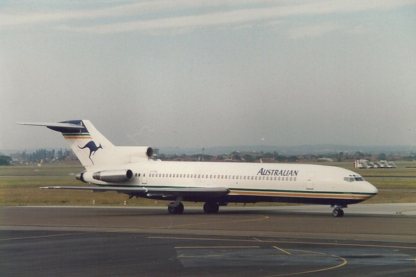 "Australian Airlines Boeing 727-276/Adv VH-TBQ ""Lawrence Hargrave"" at Sydney-Kingsford Smith, circa 1990s. (Photo: Paggsy)"