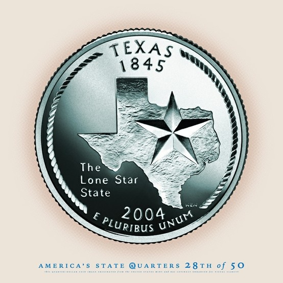 "TEXAS State Quarter, Slogan ""The Lone Star State"" Statehood 1845"