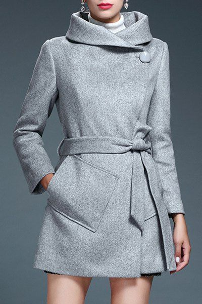 Stylish Turn-Down Neck Long Sleeves Pure Color Pocket Design Coat For Women
