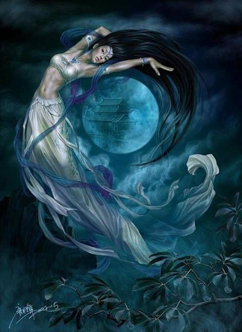 "Hina or Hine is a Polynesian Moon Goddess whose name means ""Woman who works the Moon."""