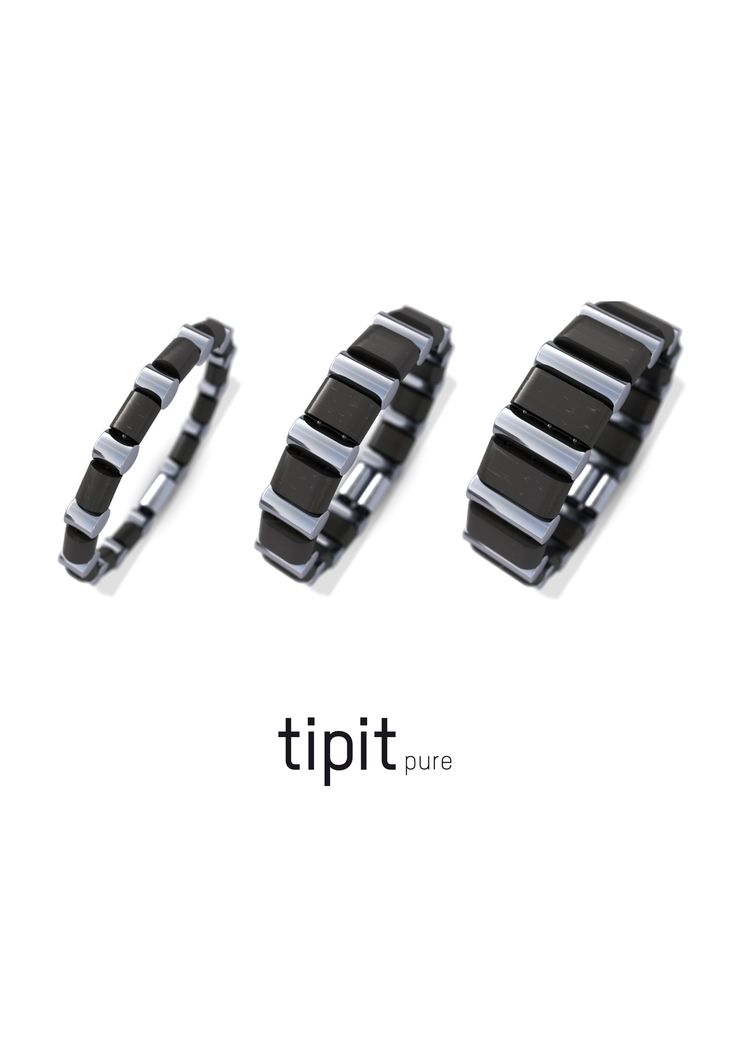 tipit Pure- bracelets in steel and ebony