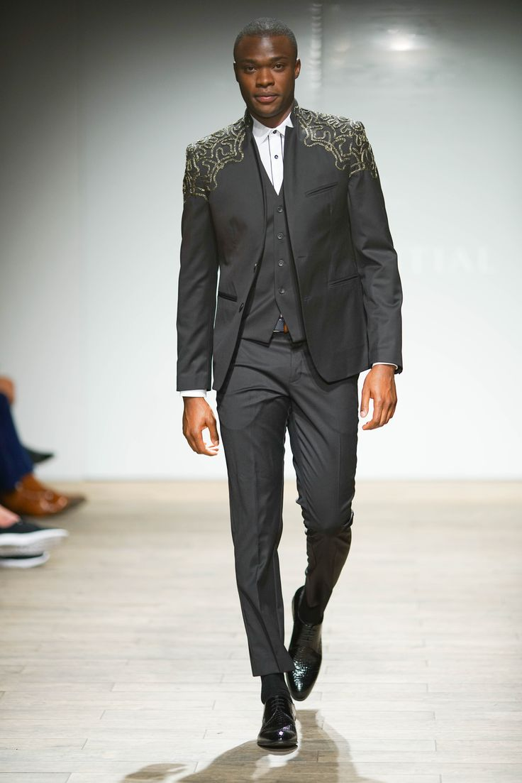 Wool blend jacket embellished with embroidery worn with matched waistcoat and pants complemented with a pleated collar dress shirt. #SAFW #SAFWmen #SAFAW17 #PresidentialSAFW #AfricanHauteCouture #HeritageMonth #MadInSA