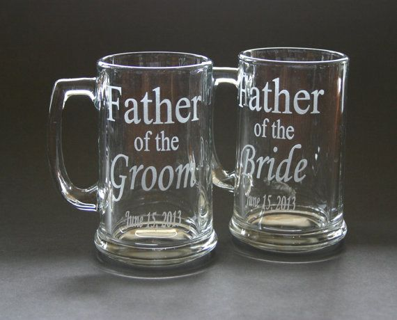 Custom Etched Beer Mug Set of 2 Wedding Father of the Bride Groom Bestman Groomsmen on Etsy, $44.00