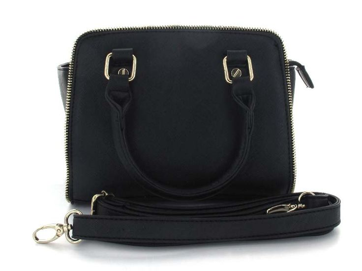 Black Medium Structured Handbag -  An edgy twist on a classic silhouette gives this bag a unique yet understated look and feel. Wear as a handbag, or attach included strap for effortless hands-free style.   Available in; Black and Red.