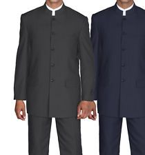 Men Milano Moda Mandarin collar, pin stripe, black/navy church suit  Sty-925
