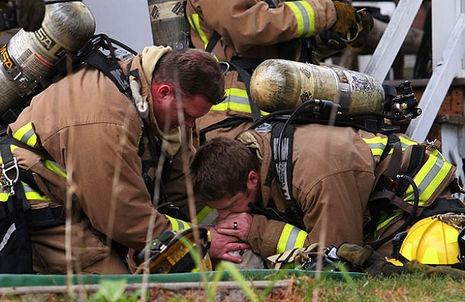 These amazing firefighters saved a dog with mouth-to-snout resuscitation after the dog was caught in a blaze in the family home in Wausau, Wisconsin. The family was away from the home when the fire broke out and trapped the family's two cats and pet dog Koda inside.