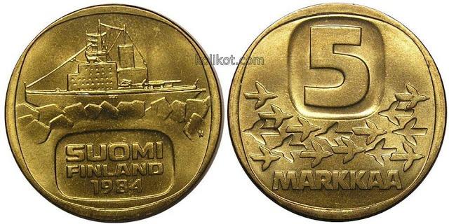 A 5-mark coin (Finland, 1984)