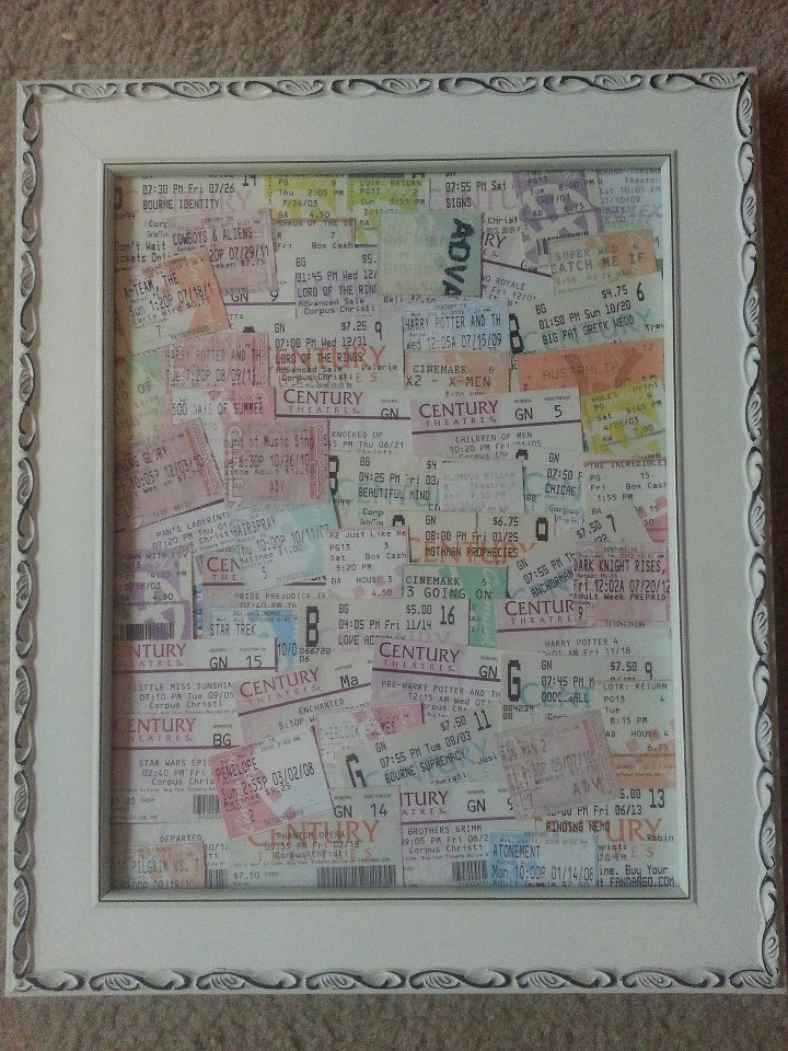 Cool way to display old movie ticket stubs.