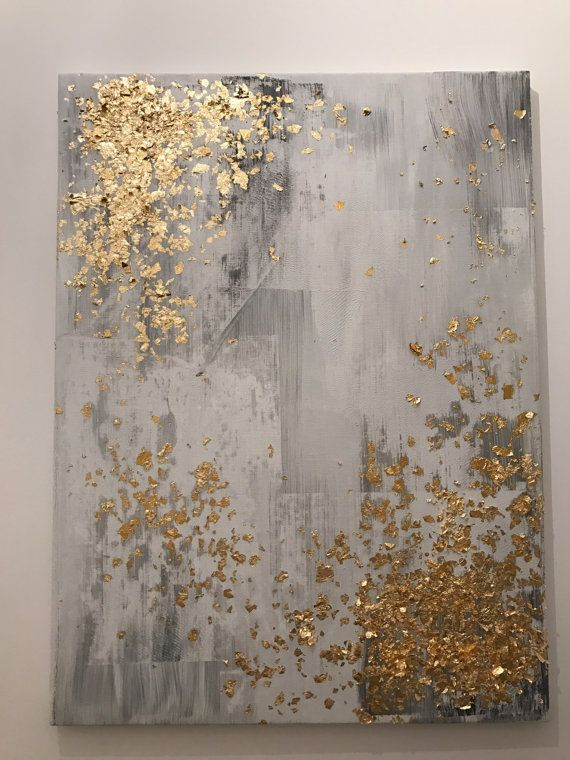 Light grey and gold leaf abstract painting von PJPaintingsArt