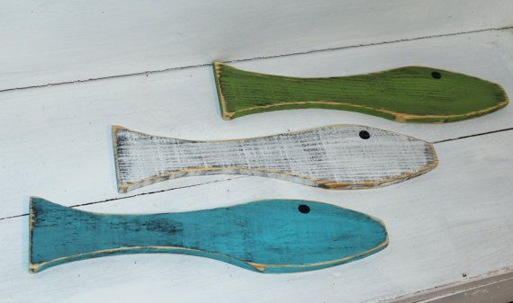 Fish Wall Art Wooden Set of 3 Distressed Sea by justbeachyshop, $26.50