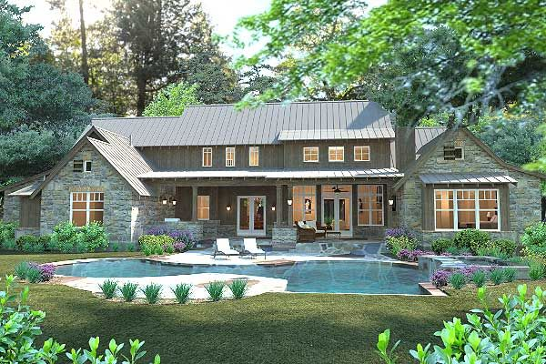 Plan 16885WG: Mountain Sanctuary | Exposed rafters, Desk