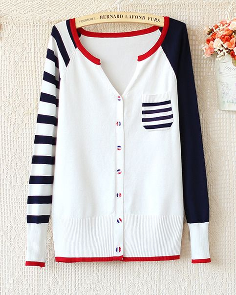 Autumn new women navy wind hit the color stitching sleeve striped knit cardigan from women sweater coats boutique