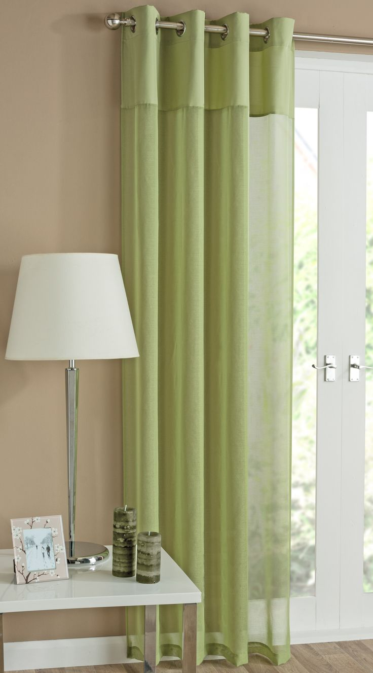Olive green window panel in curtains amp drapes compare prices - Rio Lime Green Eyelet Curtain A Modern And Chic Lime Voile Panel With A Linen