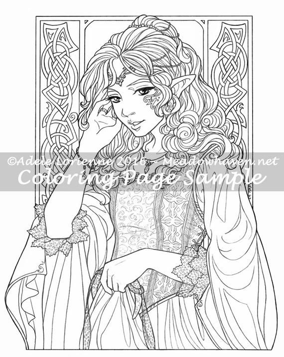 A Meadowhaven Fantasy Coloring Page Download Elf Etsy In 2021 Fairy Coloring Pages Fairy Coloring Coloring Pages