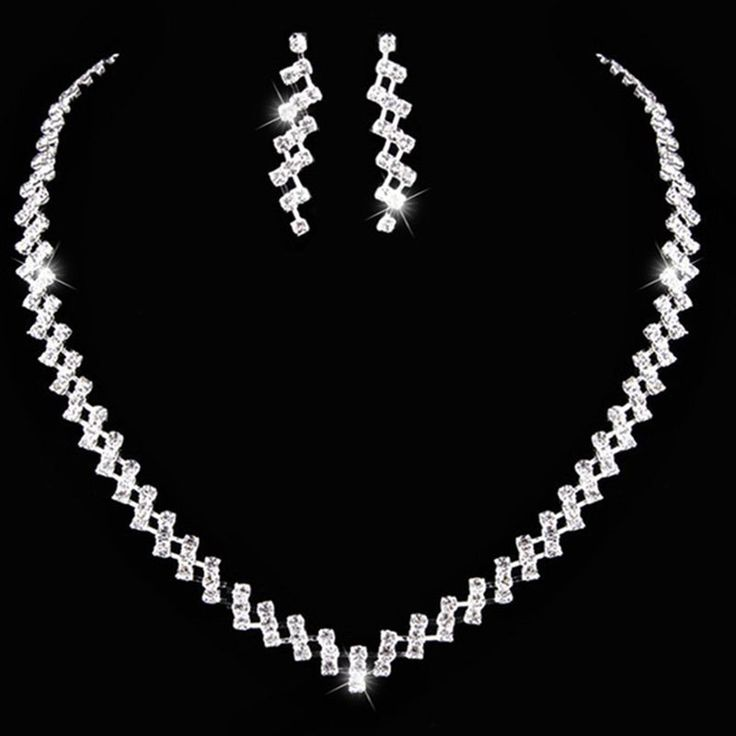 #Classic #Rhinestone Alloy #Choker #Necklace and #Earring #Jewelry #set